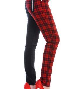 Half Black Check Skinny Jeans