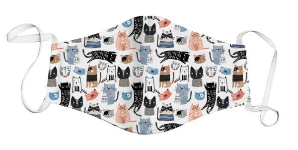 Face Mask - Cat Print/White