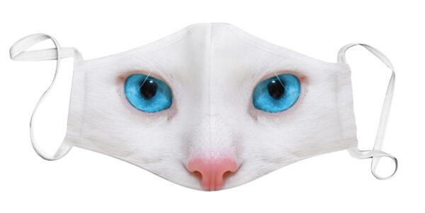 Face Mask - White Cat/Blue Eyes
