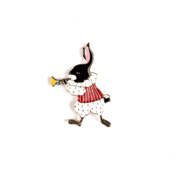Trumpet Playing Rabbit Pin