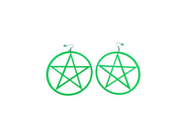 Green Pentagram Large Earrings