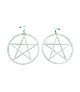 White Pentagram Large Earrings