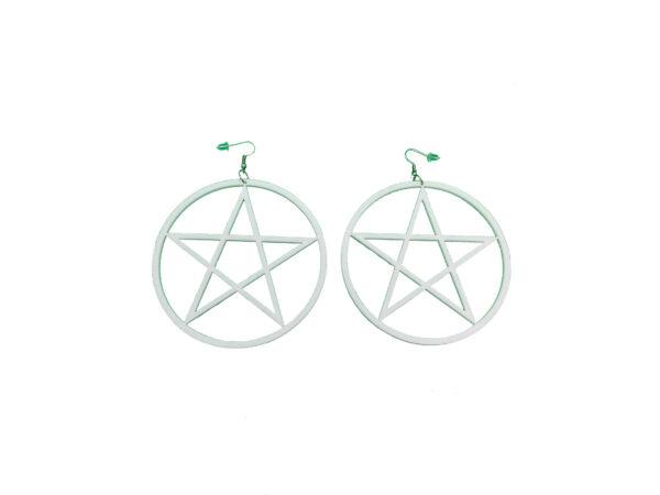 White Pentagram Large Earrings