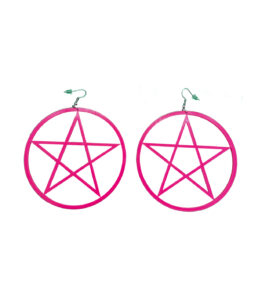 Hot Pink Pentagram Large Earrings