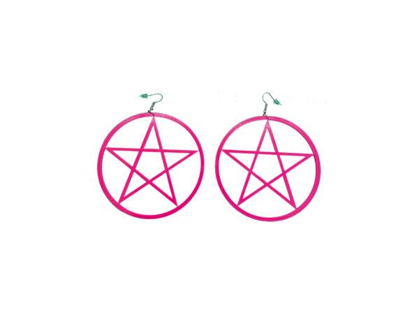 Hot Pink Pentagram Large Earrings