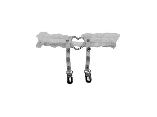 White Love Heart Leg Garter