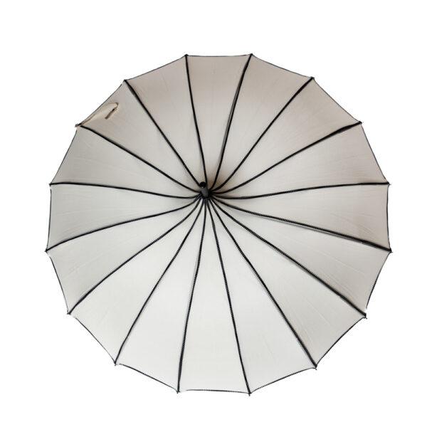 White with Black Dot Trim Pagoda Parasol