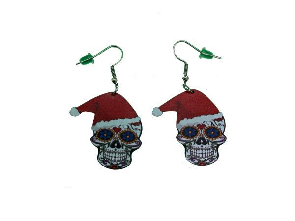 Sugar Skull Santa Hat Earrings