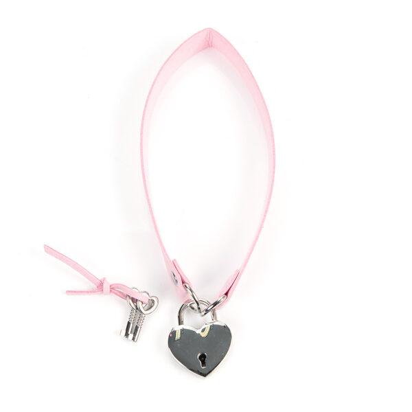 Pink Choker with Heart Lock